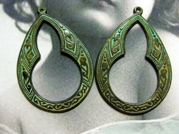 Verdigris Patina Brass Celtic Hoops 2034VER x2
