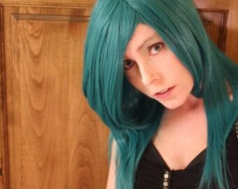 PRE SALE // Green Wig Black Streaks that clip in // Long // Straight or Curl