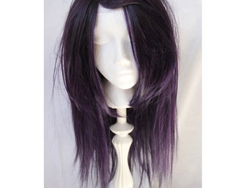 SALE // Black and Purple Wig // Layered Heat Styleable Straight or Curly