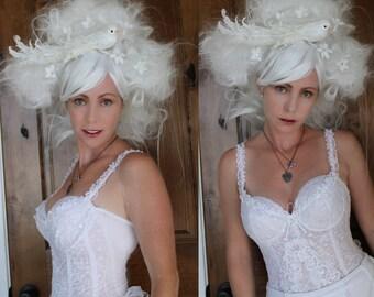 White Wig // OOAK Wig Art Wearable Art Party// Marie Antoinette