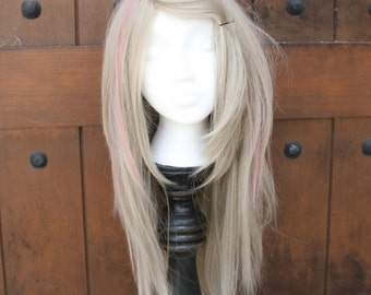 SALE //Dirty Blonde Wig with Mauve Pink Streaks