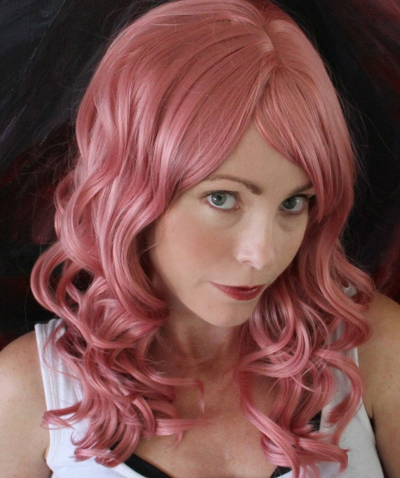 SALE // Sassy Sorbet Pink Wig You Customize //Heat Styleable Long Wavy and Bangs