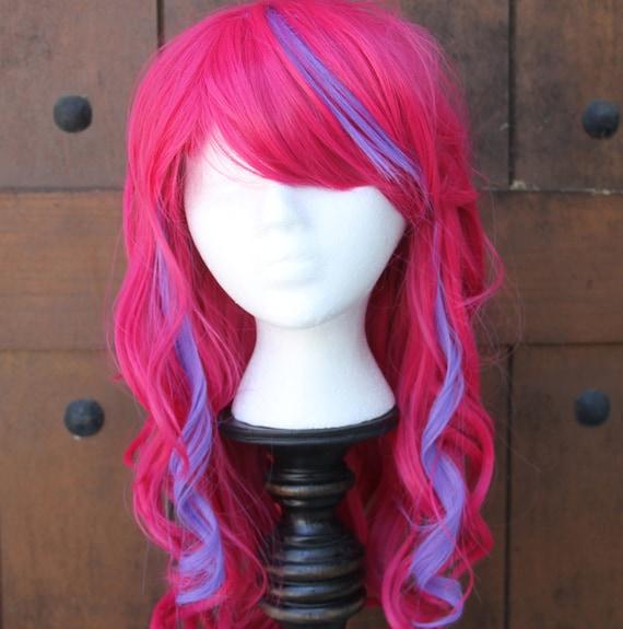 SALE // Electric Pink Wig with Neon Purple Streaks// Curvy Long Heatstyleable