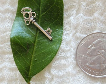 Sterling Silver Skeleton Key Charm for Bracelet or Pendant