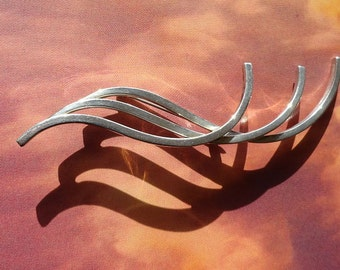 Vintage Sterling Silver Modernist Hand Wrought Wire Triple Wave Pin Brooch