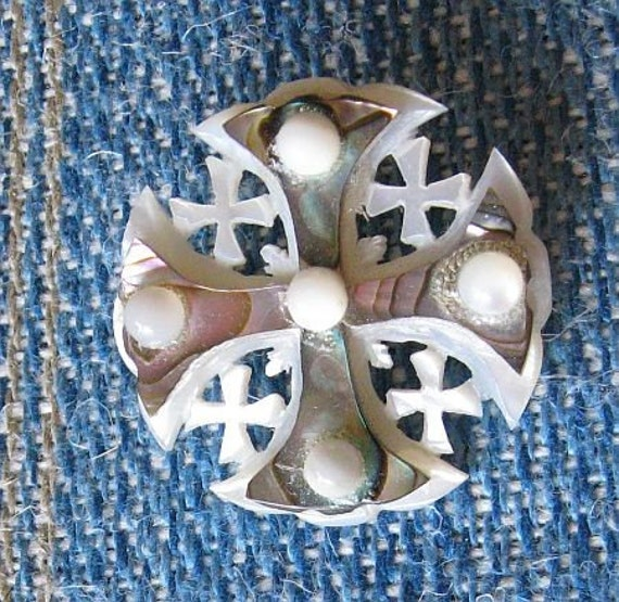 RESERVED for Ryturrismith - Vintage Mother of Pearl Carved Cross Brooch Pin