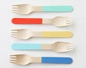 Custom Painted Wooden Forks - set of 12