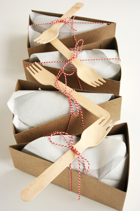 25 DELUXE Wedge-Shaped Pie Box Kits (Forks and other accessories included)