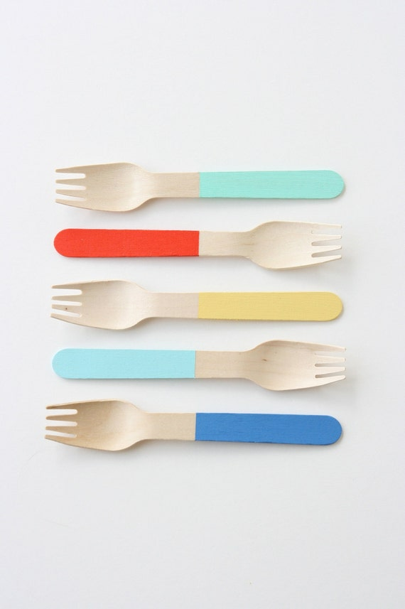 25 Color Block Wooden Forks