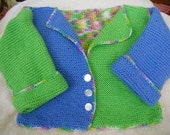 Hand Knit Pixie Sweater Jacket in Sherbert with Limelight and Blue Berry Yarns