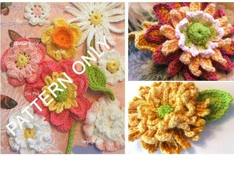 Flower Crochet PATTERNS - Crochet Mums plus Collection of 8 Crocheted Flower Appliques - Instant Download