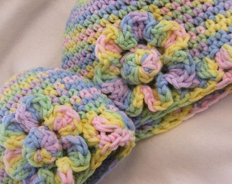 Pattern - Easy CROCHET PATTERN Soft Baby Cap and Simple Flower in 4 sizes