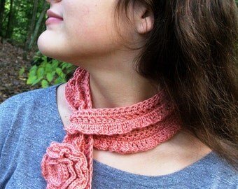NEW PATTERN - Crochet Scarf Pattern , Simple Rose and Delicate Scarfette, Adult or Child