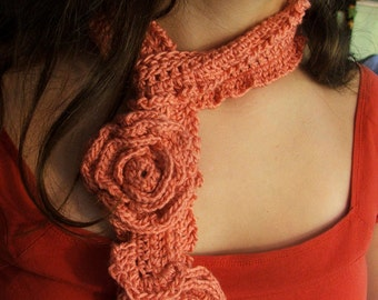 NEW CROCHET PATTERN , Instant Download - Pattern for Simple crocheted Rose and Delicate Scarfette, Adult or Child