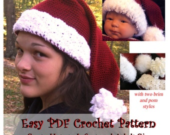 Easy Crochet Pattern  - Instant Download for Santa Hat in All Sizes with Two Brim Styles - perfect Photo Prop for Christmas