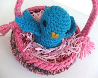 Instant Download Crochet PATTERN - Baskets or Bowls with Darling Birdie pdf format crochet pattern