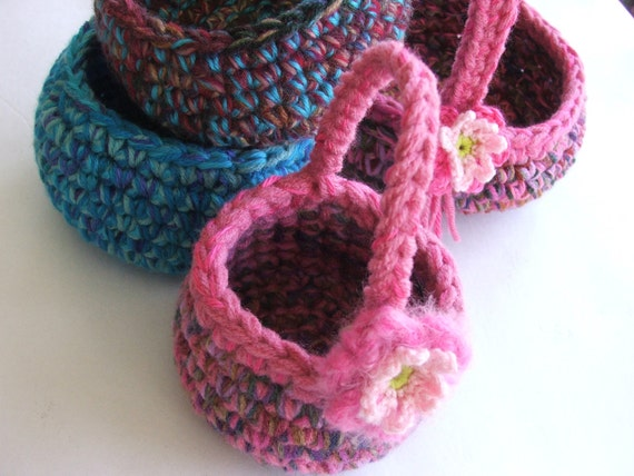 Easy Crochet PATTERN - Baskets or Bowls with Darling Birdie pdf format crochet pattern - Instant Download