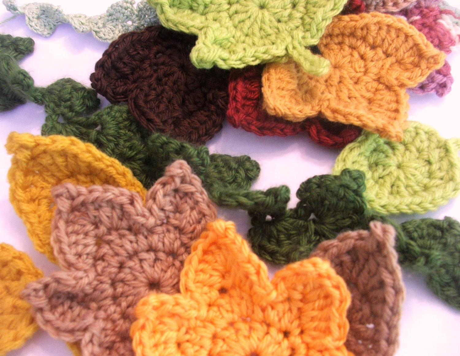 Fall Crochet Patterns : Fast and Easy Autumn Leaves Crochet PATTERN set by susanlinnstudio