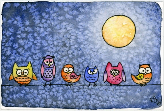 it's a line up OWLS original watercolor - Halloween SALE PRICE