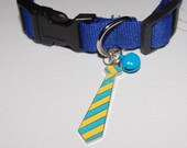 Blue Tie and Bell Collar