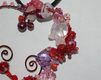 Red and Pink Coral and Hammered Copper Heart Pendant Necklace