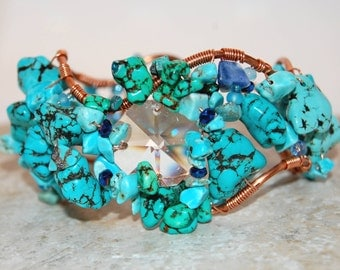 Vintage Crystal and Chunky Turquoise Copper Wire Wrapped Bracelet
