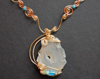 Hammered Copper and Brass Necklace with Blue and White Wire-Wrapped Chalcedony
