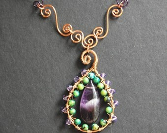 Hammered Copper and Wire Wrapped Amethyst Chalcedony Pendant Necklace