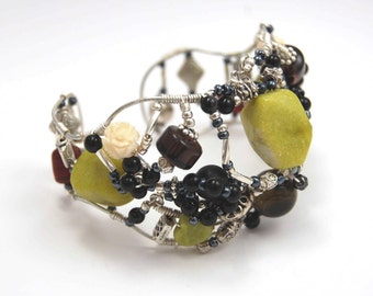 Wire Wrapped Sterling Silver Cuff Bracelet with Jade, Handcarved Ivory, Black Onyx and other Semi Precious Gemstones