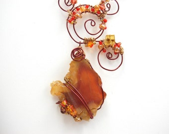Hammered Copper and Warm Red Orange Agate Necklace