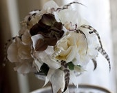 VINTAGE PLUMES N PEARLS Wedding Bouquet