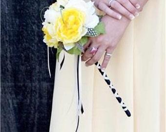 ROMANTIC RUFFLES Flower Wand For Bridesmaids or Flowergirl or Toss Bouquet