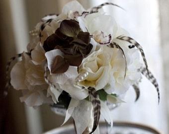 VINTAGE PLUMES N PEARLS Wedding Bouquet