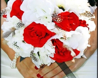 FIRE AND ICE Wedding Bouquet  With Guinea Feathers
