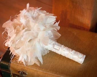 SMITTEN COUTURE Feather Flower Wedding Bouquet Rhinestones