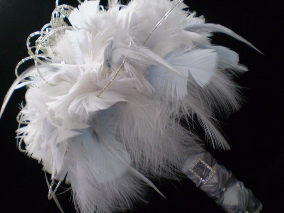 WHISPER Ready To Ship COUTURE Bridal Feather Bouquet RHINESTONES