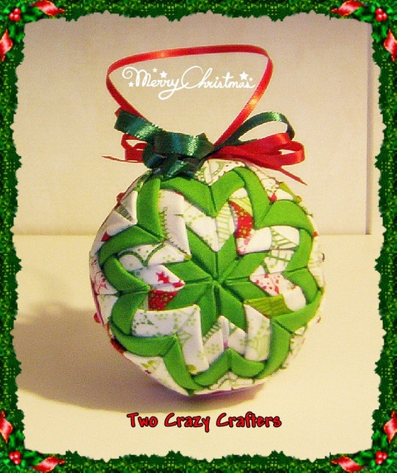Holiday Quilted Ornament Ball White, Green and Red With Holly Leaves