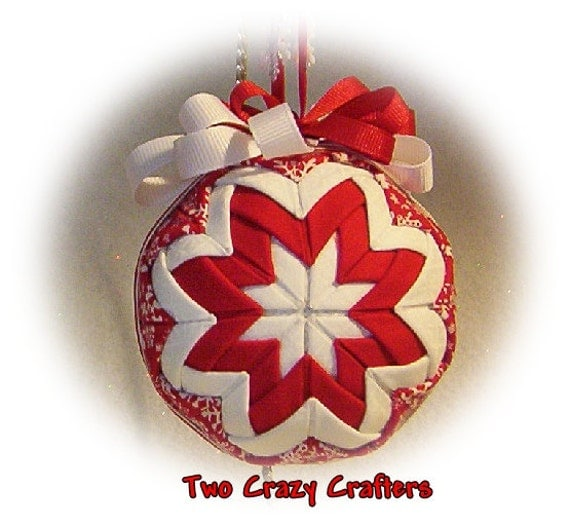 Snowflake Quilted Ornament Ball with Snowflakes on Red and White