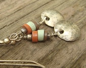 Earthy Wood Heishe and Oxidized Sterling Silver Dangle Earrings