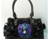 SATCHEL Black Velvet Floral Damask Pocket Full of Posiez R Tribute to the Haunted Mansion Delphina