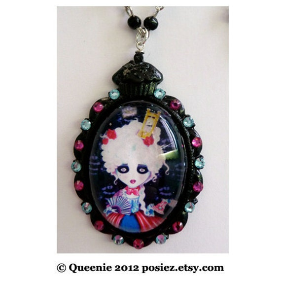 NECKLACE Pocket Full of Posiez TM Let them eat Cake Black Cupcake Pendant with Pink and Blue Swarovski Crystals