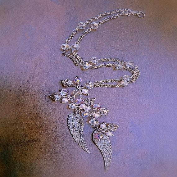 Angel Wings, Western Cowgirl Crystal Angel Wings Bali Silver Charm Necklace