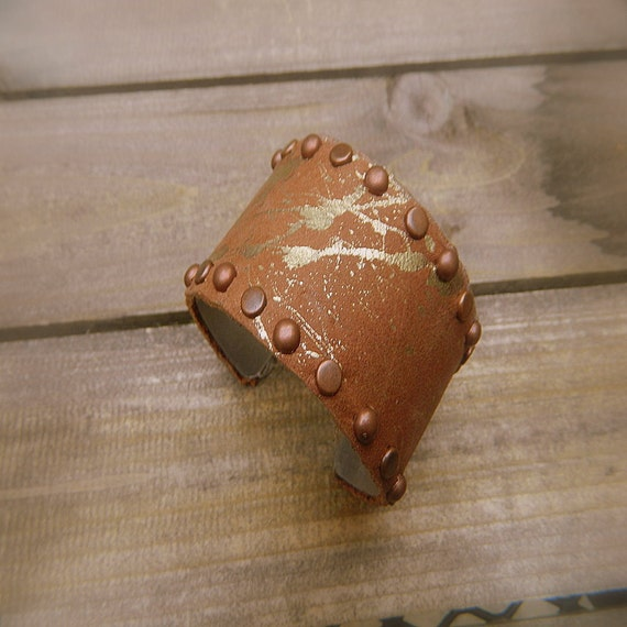 Mud Puddle, Western Cowgirl Leather Studded Cuff Bracelet