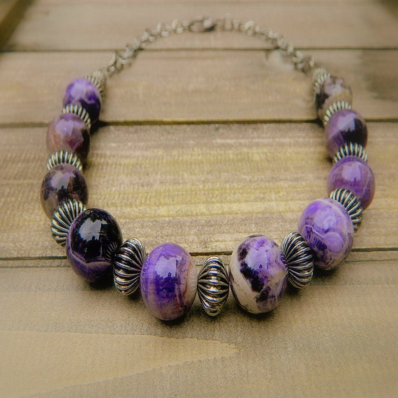 Galaxy, Western Cowgirl Southwestern Charoite Stone Necklace
