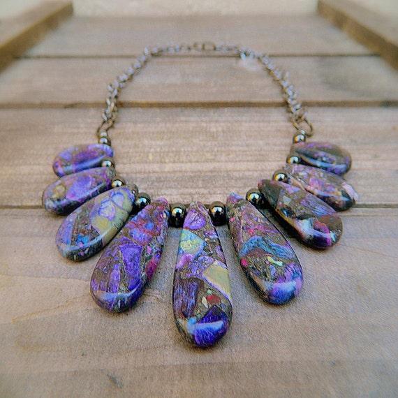 Purple Rain, Western Cowgirl Purple Turquoise Pyrite Tear Drop Necklace
