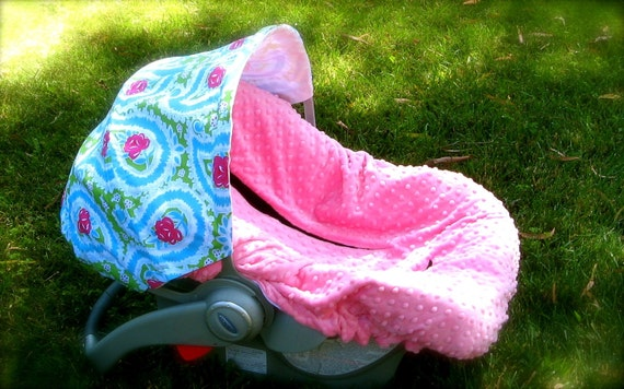 Infant Car Seat Cover, Baby Car Seat Cover in Green Paisley Rose