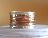 14k rose gold filled and sterling silver hammered stackable rings- rose gold staking rings- rose gold staking rings- rose gold