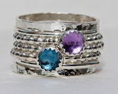 Birthstone Rings Set Rose Cut London Blue Topaz  Amethyst February Birthstone Ring, Stackable Ring, Sterling Silver Ring, Mothers Stack Ring