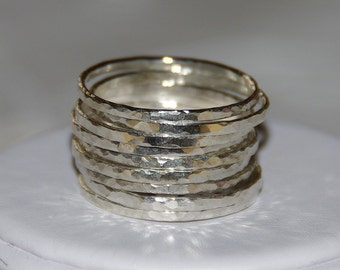 BOLD SET OF 9 handmade hammered sterling silver stackable rings, sizes 3, 4, 5, 6, 7, 8, 9, 10, 11