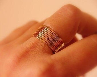 Ultra Thin Gold Filled stacking rings set of 10 - ultra thin stacking rings - delicate thin gold rings